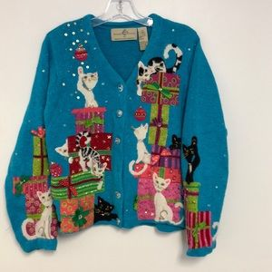 Ugly/Cute Christmas Cat Gifts presents Sweater Med